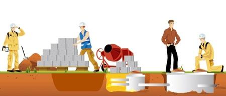 arbeider van het gebouw voor de echte bouwwerkzaamheden