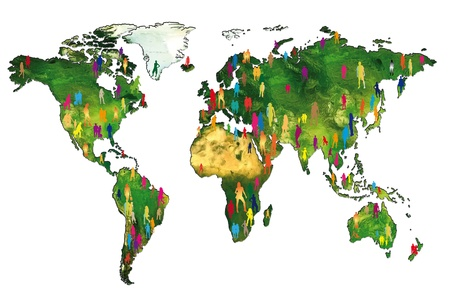 overpopulation: Silhouettes of people on a world map showing the world population Stock Photo