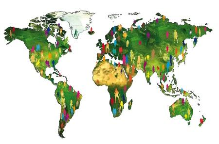 población: Siluetas de la gente en un mapa del mundo que muestra la población mundial