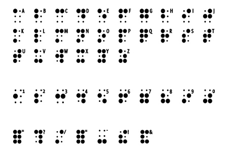 symbol  punctuation: writing or alphabet braille some for blind man and badly indicator