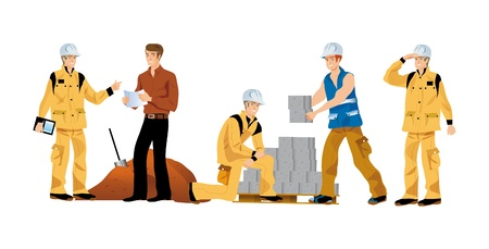 public works: illustrations of buildings for workers working