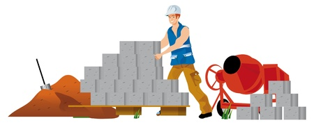 movable: workman craftsman mason taking of the breeze blocks for construction a house Stock Photo