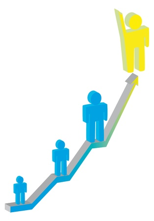 drawing of a leader on a social ladder for a successful career in business photo