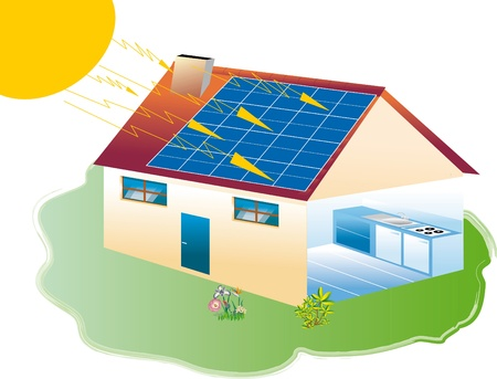 houses equipped with solar panels, photovoltaic photo