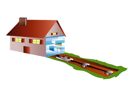 drainage: ecological houses with air-conditioning in basement or by geothermics