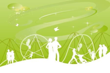 festividades: la elaboraci�n de un parque tem�tico con atracciones y fiestas para las familias con ni�os jugando a la pelota cerca de un gran 8