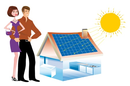solar panel roof: Solar panels installed on roof of a house for a renewable energy