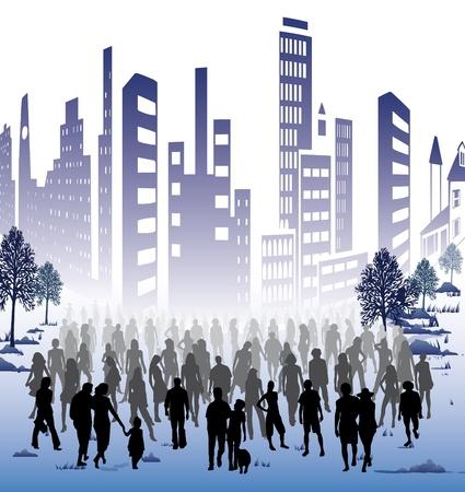 sociedade: Uma multidão de pessoas para eventos políticos ou comerciais na cidade Banco de Imagens