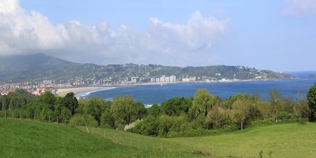 panoramic photo of Hendaye beach landscape in the Basque country in France