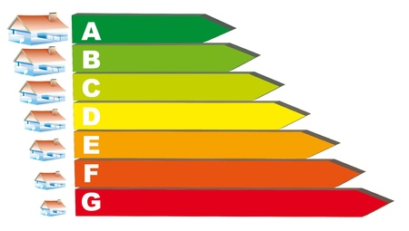 solar heating: Green home on a graphic to the real diagnosis Stock Photo