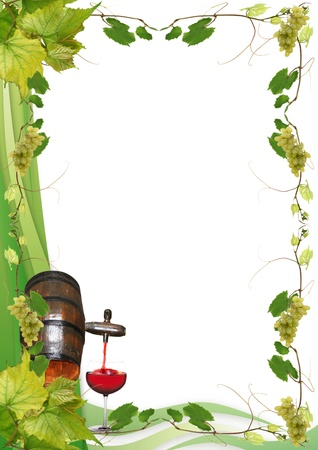 vine leaves, grapes, barrel and glass of red wine for a wine in a restaurant Stock Photo