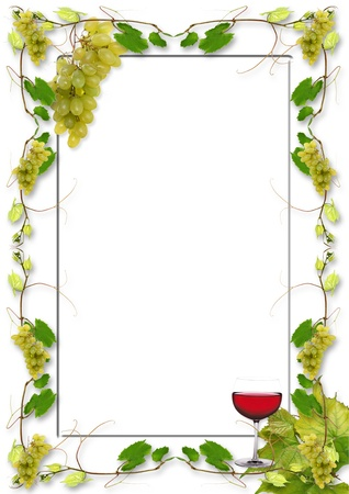wine growing: vine leaves and grapes for wine in a restaurant