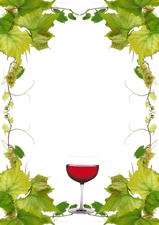 vine leaves and grapes for wine list in a fast food