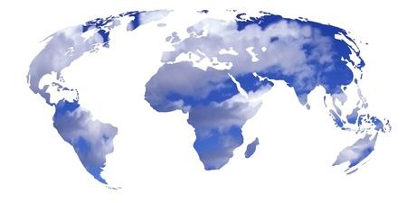 mundo contaminado: el planeta tierra o planisferio con un cielo nublado