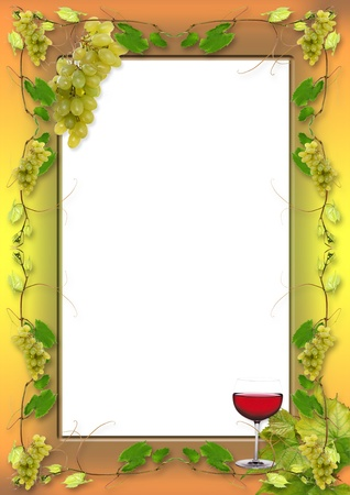 map wine: vine leaves and grapes for wine in a restaurant