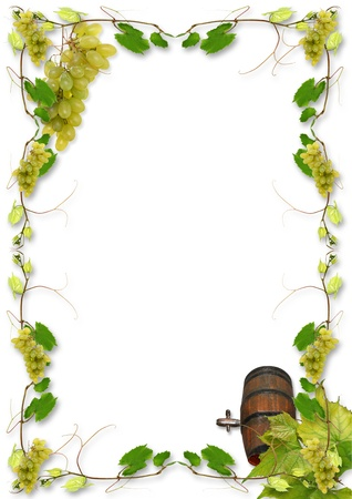 wine vineyards: vine leaves and grapes for wine in a fast food Stock Photo