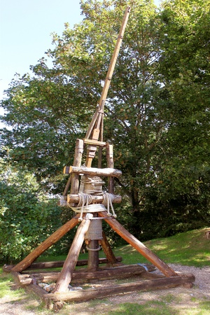 antique photo of a catapult war machine medieval medieval