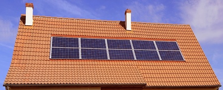 volte: photovoltaic or solar panels on a roof of house