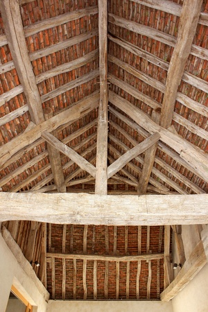 rafters: Old frame with visible beams of a castle