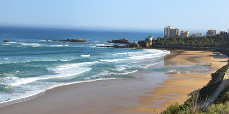 vague: view of the beach of Biarritz in the Basque country in France