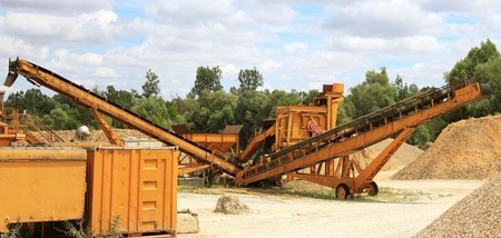 hone: panoramic photograph of a sand and gravel pit Stock Photo