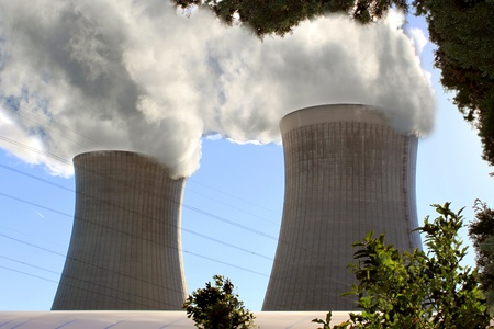 Chimneys of a nuclear power plant for renewable energy Stock Photo - 17119783