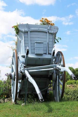 A cart for agriculture with flowers