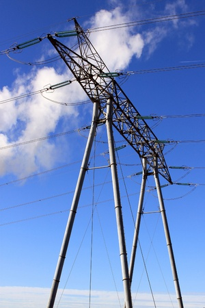 An electrical pylon against blue sky for nuclear energy Stock Photo - 17163676