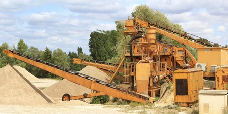 gravel pit: panoramic photograph of a sand and gravel pit Stock Photo