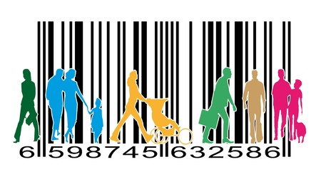 barcode: pedestrians or customers of a supermarket on a barcode Stock Photo