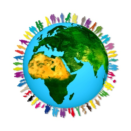 racismo: Siluetas de muchas personas de diferentes colores alrededor del planeta tierra Foto de archivo