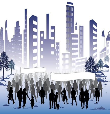 building trade: A crowd of people for political or commercial events in the city
