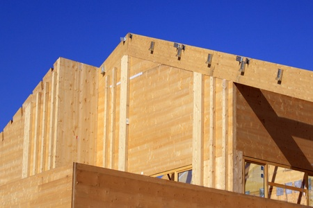 prefabricated: Natural wood construction of a house or a trade for a green energy isolation