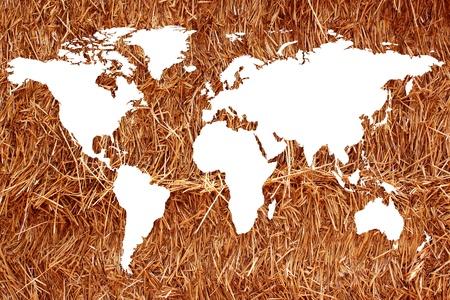 planisphere: un planisfero o una mappa del mondo su uno sfondo di paglia o fieno per l'agricoltura biologica Archivio Fotografico
