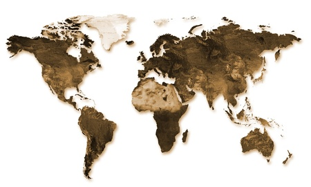 un mapa del mundo en sepia en relieve sobre un fondo blanco photo