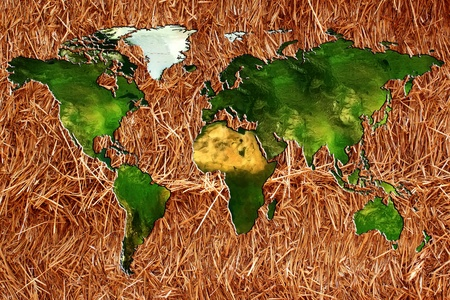 hone: a planisphere or chart of the world on a bottom of straw or hay for an organic farming