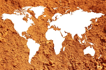 public works: a world map or world map on red earth