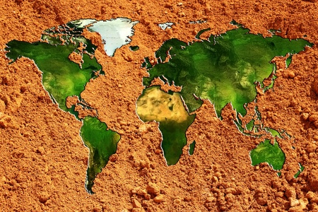 planisphere: un planisfero o un grafico del mondo sulla terra rossa Archivio Fotografico