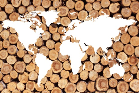 planisphere: a planisphere or map of the world on firewood for green energy Stock Photo