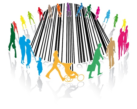 pedestrians or customers of a supermarket on a barcode photo