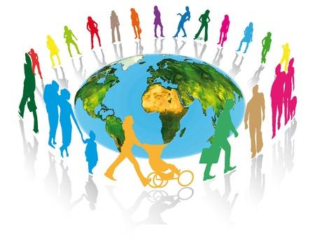 Fußgänger, Familien, Geschäftsleute und Frauen rund um den Planeten Erde für eine bessere Kommunikation in der Welt Standard-Bild - 20691303