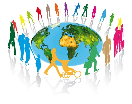 pedestrians, families, businessmen and women around the planet earth for better communication in the world Stock Photo