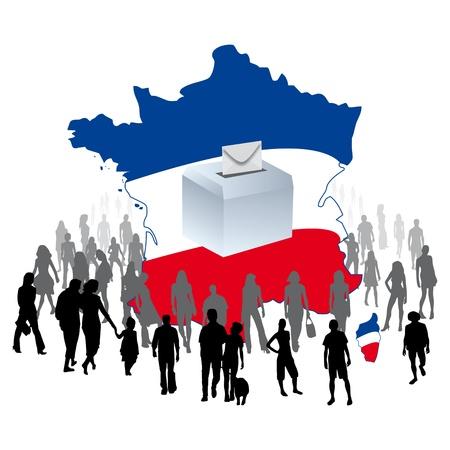delegates: un'urna con una folla di elettori su una mappa di Francia per le elezioni democratiche partiti politici