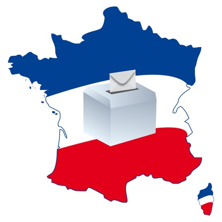 portrait of a politician on a map of France for elections photo