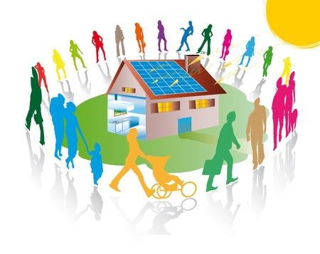radiacion solar: Siluetas de personas en una casa con paneles solares fotovoltaicos y de la radiación solar Foto de archivo
