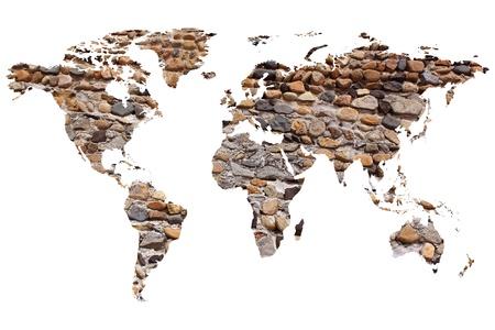 planisphere: una mappa del mondo o planisfero su un muro di pietra