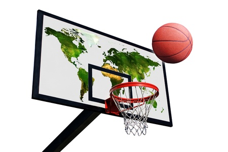 a basketball and a panel of basketball with a world map on a white background isolated Stock Photo