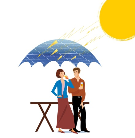 solar heating: couples under a parasol in solar panels with the rays of the sun