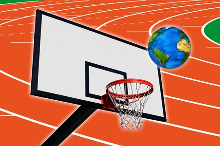 an earth and a panel of basketball on a background of a running track photo