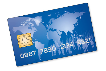 drawing of a blue credit card with a crowd of people on a world map